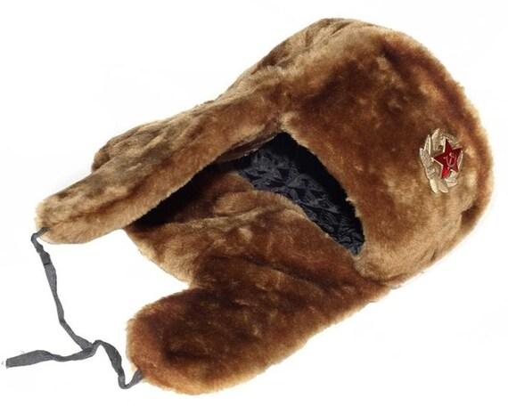 Authentic Russian Military Camel Brown Ushanka Hat Soviet Army  151b25b65607