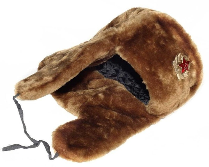 b0af5deb007 Authentic Russian Military Camel Brown Ushanka Hat Soviet Army
