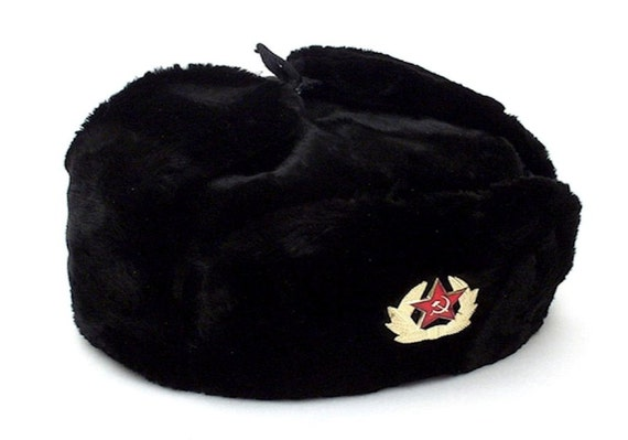 Authentic Russian Ushanka Military Hat Black w  Soviet Red  8b77d639db0