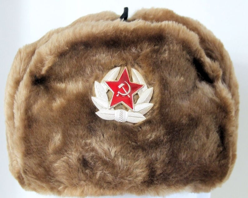 Authentic Russian Military Camel Brown KGB Ushanka Hat W   2b1b5fd171e1