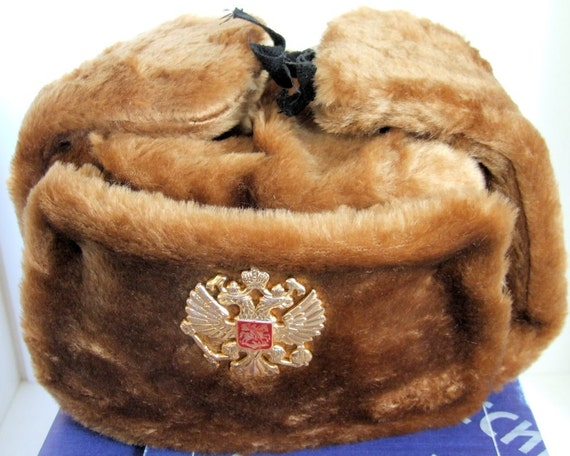 Authentic Russian Gray Ushanka Military hat w// SOVIET DOUBLE EAGLE BADGE