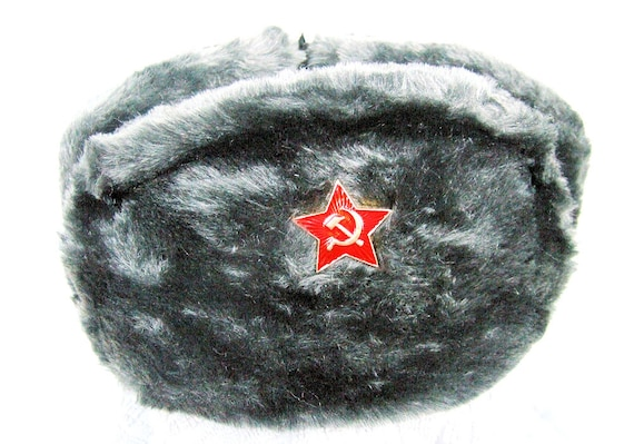Authentic Russian Military Deep Gray Ushanka W  Red Star  13d8b429c5da