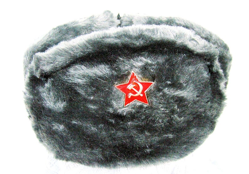 08d636ec6a8 Authentic Russian Military Deep Gray Ushanka W  Red Star