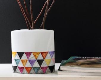 Hand painted Modern Vase, Geometric vase, Home Decor vase, One of a kind Vase, Minimalist vase, Home decor housewares, gift for the home