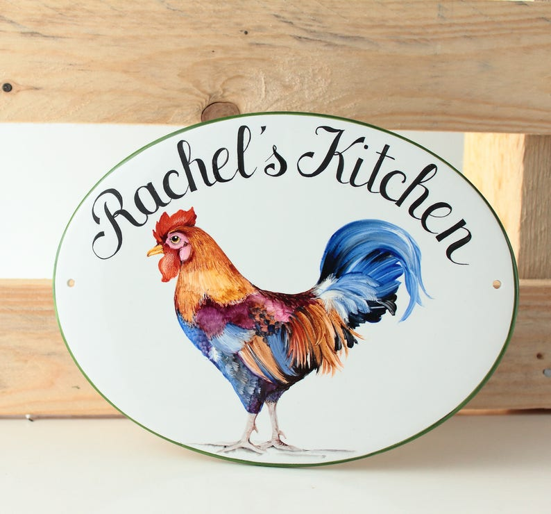 Rooster kitchen sign personalized with name, Rustic decor for kitchen,  Chicken farmhouse sign, Tiles for kitchen, Name plaque