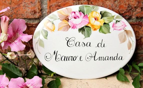Targhette Per Porte In Ceramica.Targa Casa Dipinta A Mano Ceramica Ovale Personalizzata Con Etsy