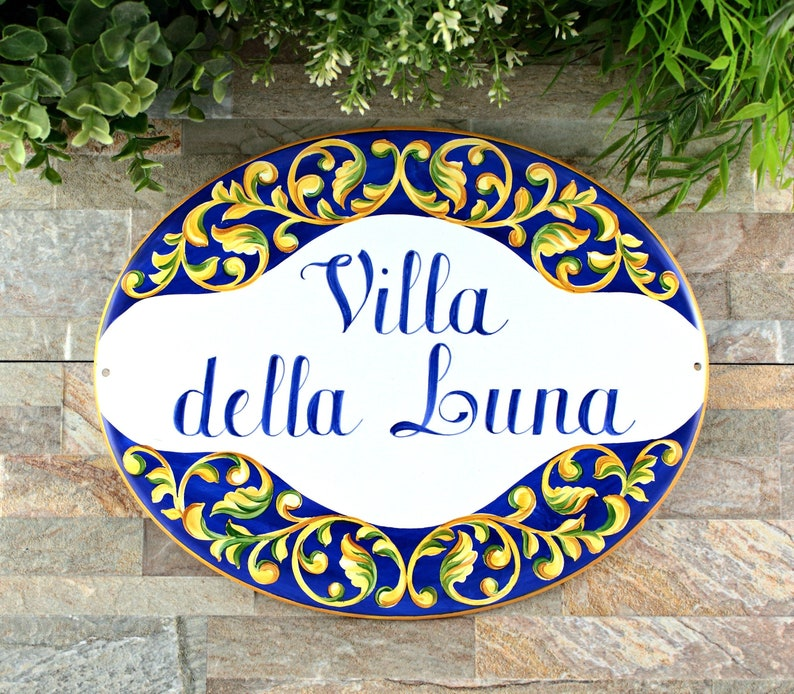 Talavera Ceramic House Plaque Personalized House Signs For Villa Italian Style Home Decor Custom Address Plaque
