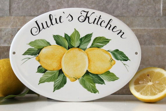 Ceramic lemon personalized kitchen signs kitchen wall signs