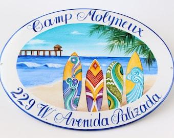 House Beach decor Outdoor Sign, House Beach sign, Beach decor, Beach Wall Sign, Coastal decor, Surfboard decor
