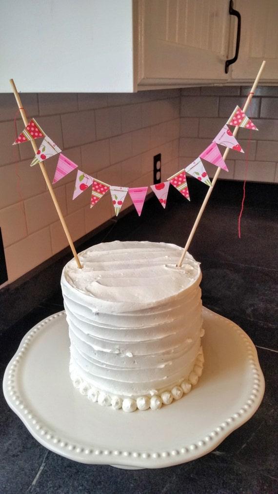 Admirable Whimsical Cake Bunting Spring Cherries Graduation Birthday Etsy Personalised Birthday Cards Beptaeletsinfo