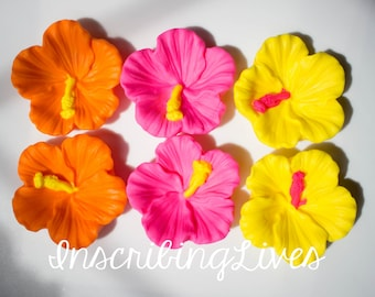 Fondant Flowers 12 Bright Hawaiian Tropical Hibiscus Edible Etsy