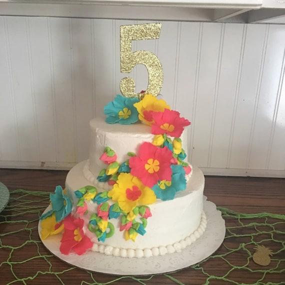 Hibiscus Fondant Flowers 12 Bright Hawaiian Tropical Luau Cake Etsy