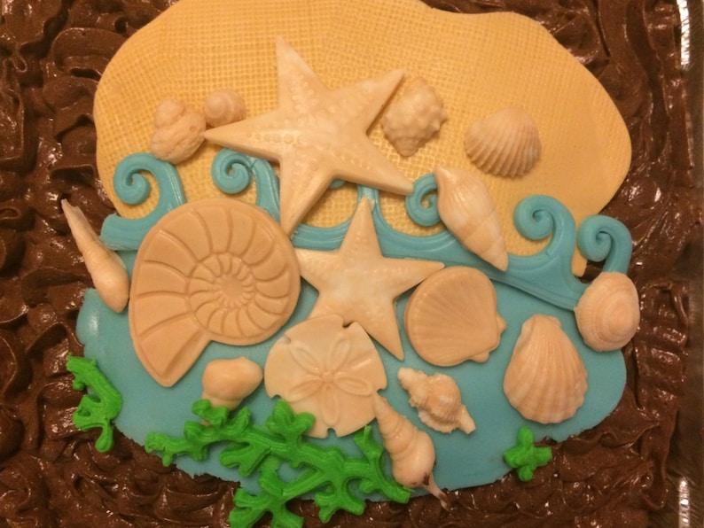 Beach Cake Topper Fondant Sea Shell Edible