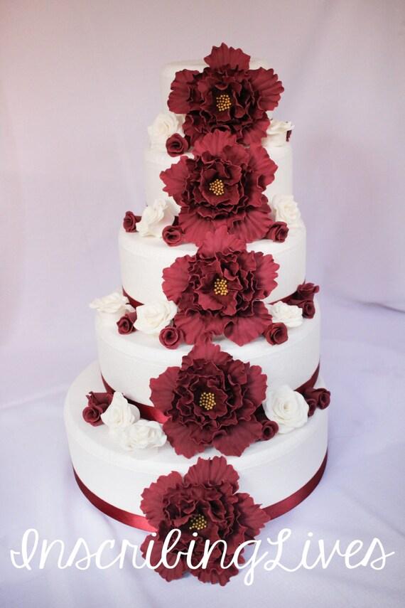 Wedding Cake Decorations 41pcs Burgundy Wedding Cake Topper Etsy