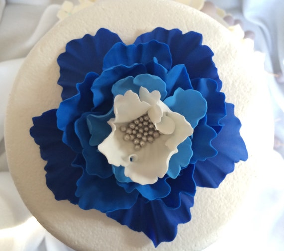 royal blue wedding edible decorations white silver ombre fondant flowers XL peony cake toppers birthday bridal shower InscribingLives