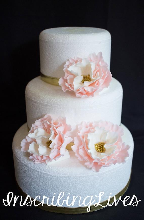Erroten Sie Rosa Hochzeitstorte Blumen 3pcs Jahrgang Essbaren Etsy