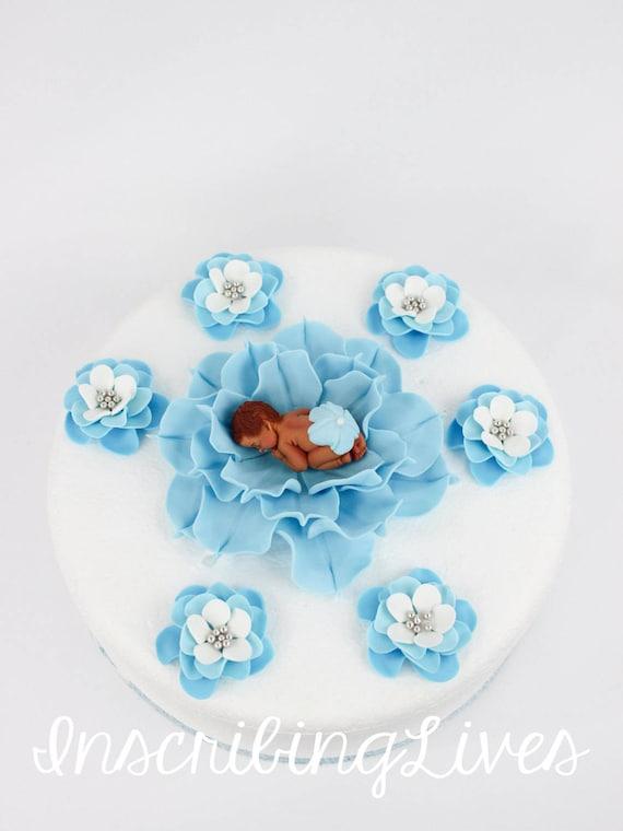 Junge Baby Dusche Kuchen Topper Babyblau Fondant Blumen Baby Auf Blume Kuchen Dekorationen 3d Essbare Baby Dusche Kuchen Topper Inscribinglives