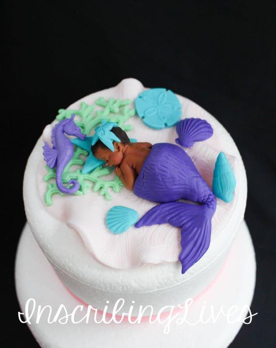 Mermaid Baby Shower Cake Topper Girl Purple Lavender 3d Edible Etsy