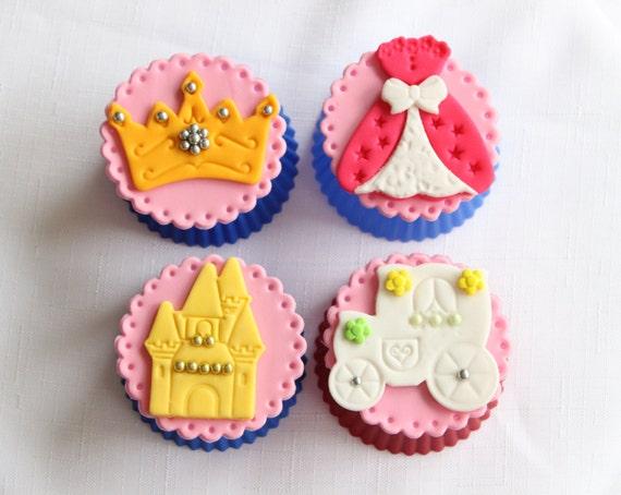 12 Princess Cupcake Toppers Edible Fondant Royal Ball Gown Etsy