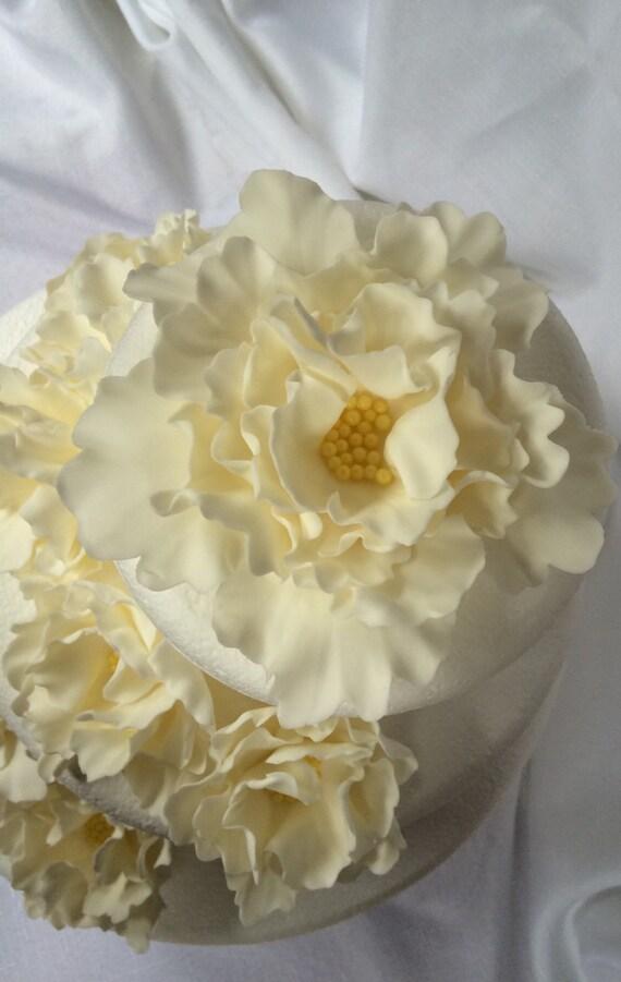 white wedding cake topper vintage peony fondant flowers edible   Etsy