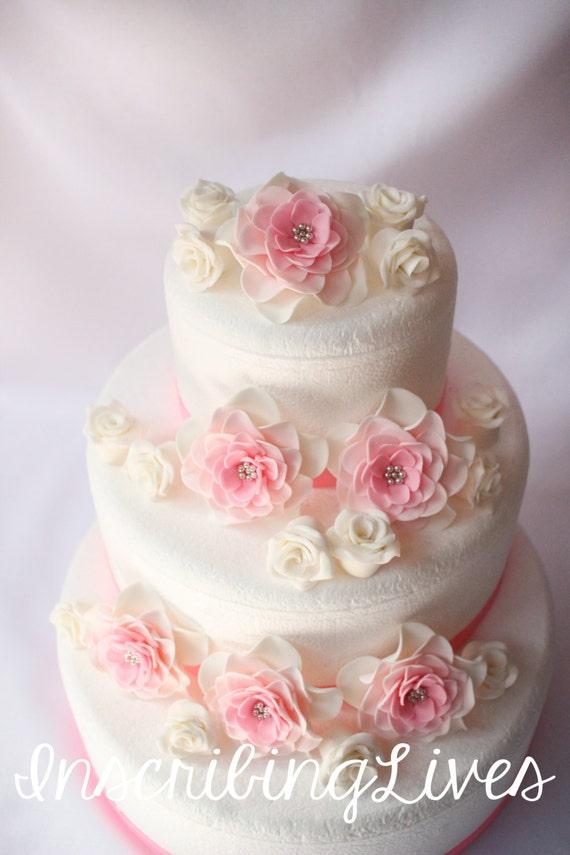 Gâteau De Mariage Rose Fleurs 18pcs Grand Blanc Rose Argent Ombré Fondant Fleurs Vintage Gâteau Rose Décorations Inscribinglives