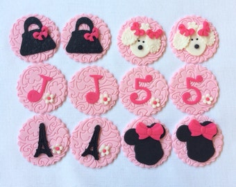 12 minnie in paris cupcake toppers Eiffel tower poodle edible fondant dreamer traveler vacation tour shopping bag diva europe London