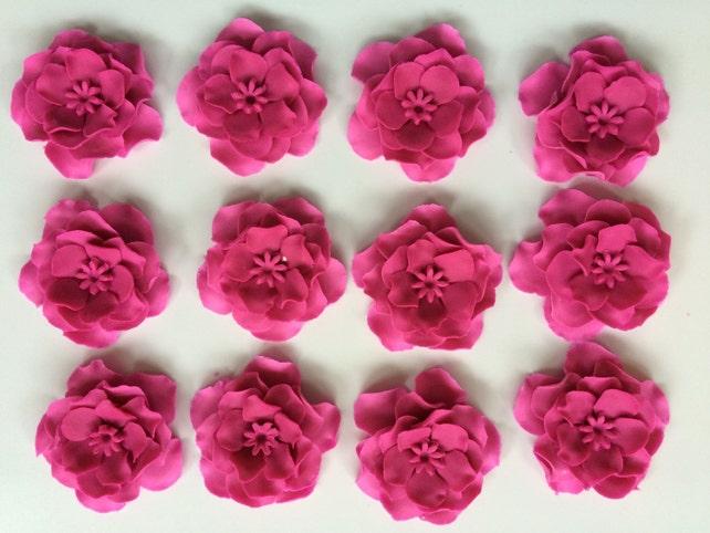 Fondant Flowers 12pcs Vintage Pink White Ombre Flowers Edible