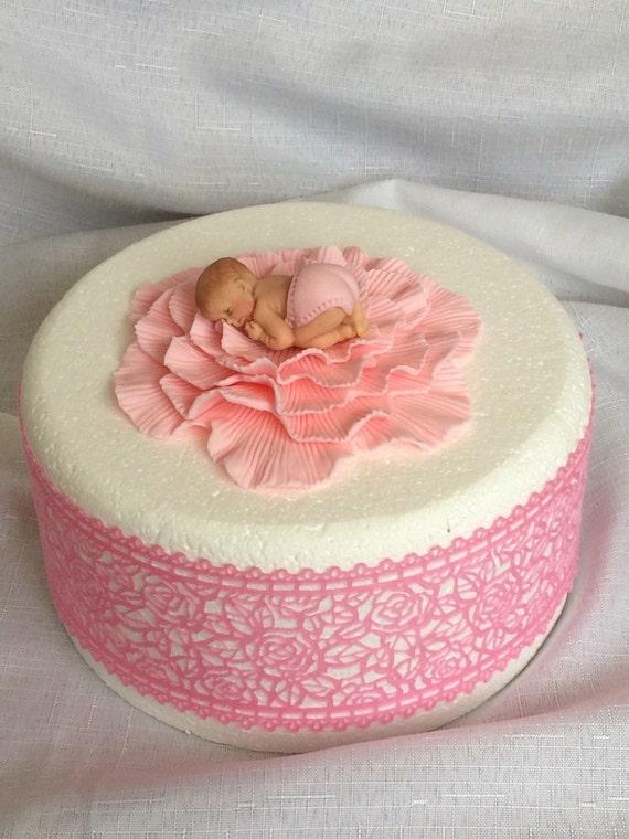 Baby Dusche Kuchen Topper Madchen Rosa Baby 3d Figur Essbaren Etsy