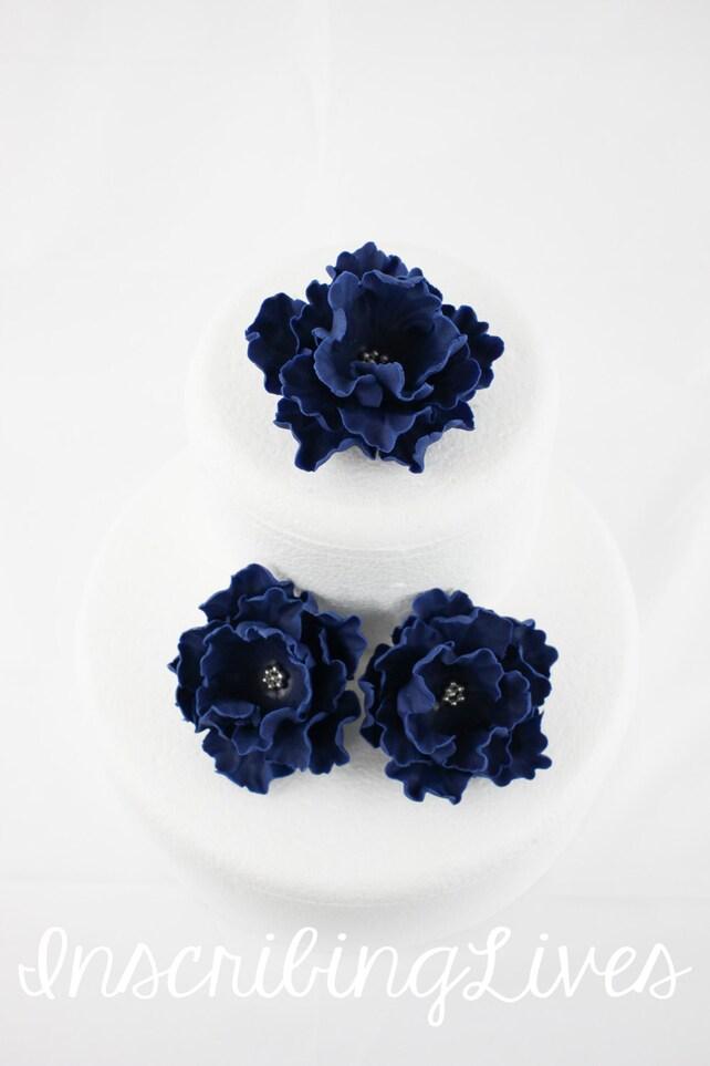 Navy Blue Fondant Flower 3pcs Peony Cake Flower Navy Blue