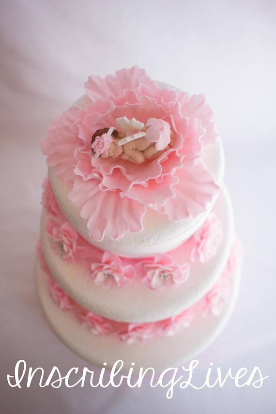 15 mixto de color de rosa Baby Shower bebé Niña Bautizo Comestible Cupcake Toppers