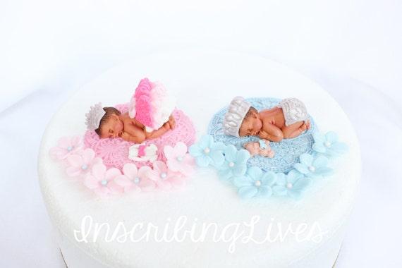 Lizenzgebuhren Fondant Zwilling Baby Kuchen Topper Junge Baby Etsy