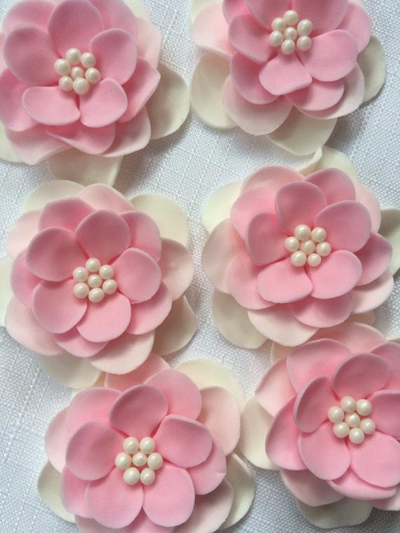 Fondant flowers 12pcs vintage white pink white ombre flowers etsy image 0 mightylinksfo