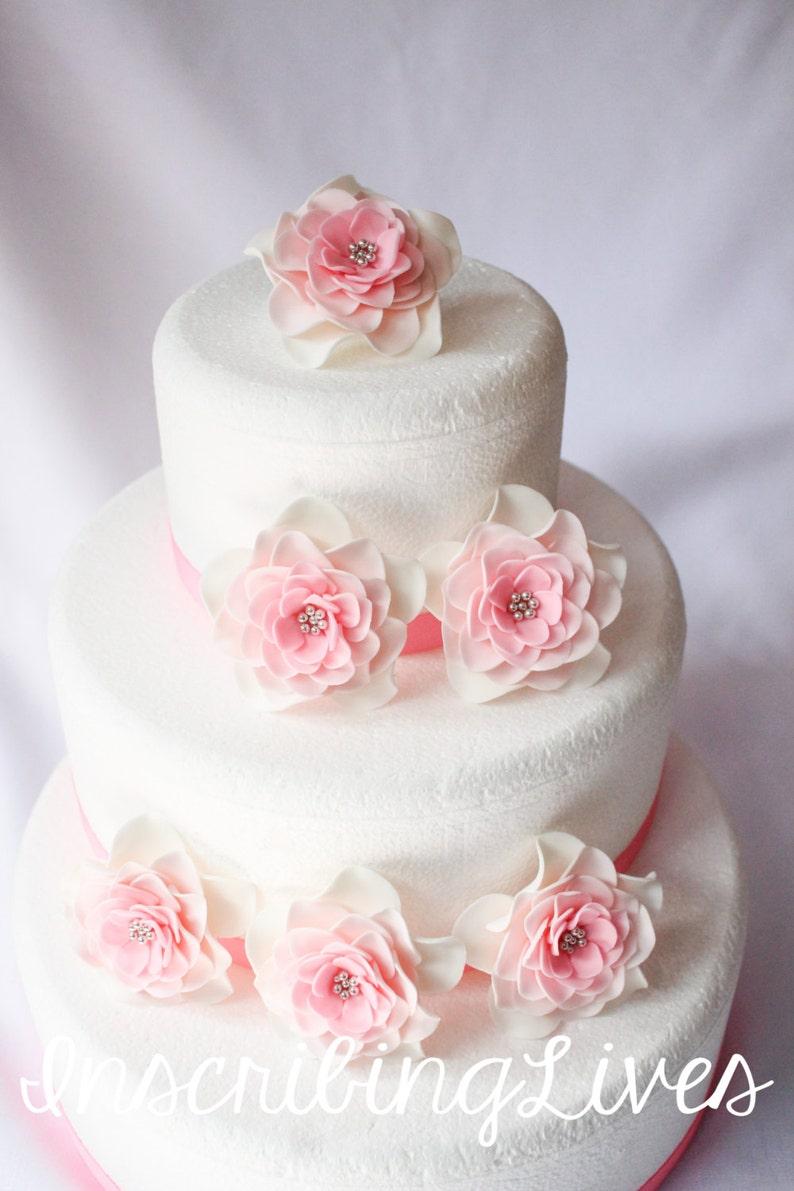 Fleurs De Fondant 6pcs Grand Blanc Rose Argent Ombré Comestibles Fleurs Fondant Gâteaux De Mariage Rose Vintage Shabby Chic Rustique De Décorations