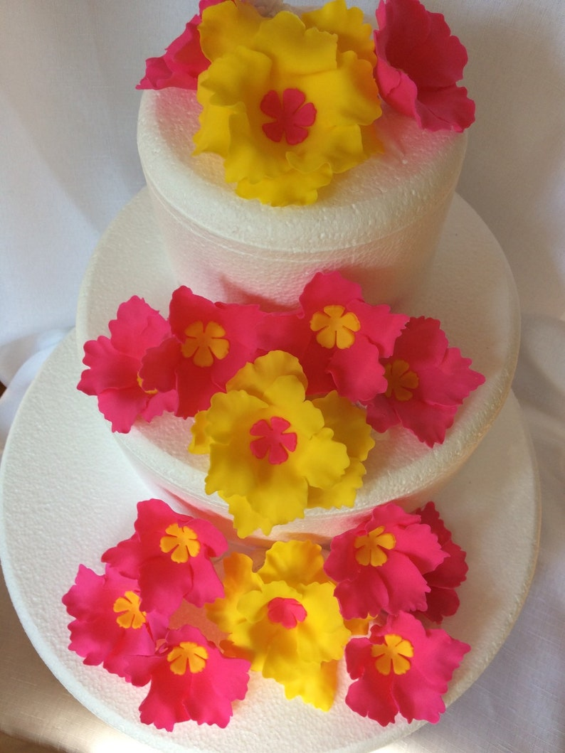 Luau Flower Cake Topper 15pcs Hawaiian Wedding Cake Topper Etsy
