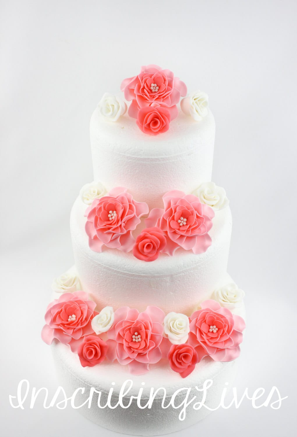 Coral wedding cake toppers 18pcs rose fondant flowers coral