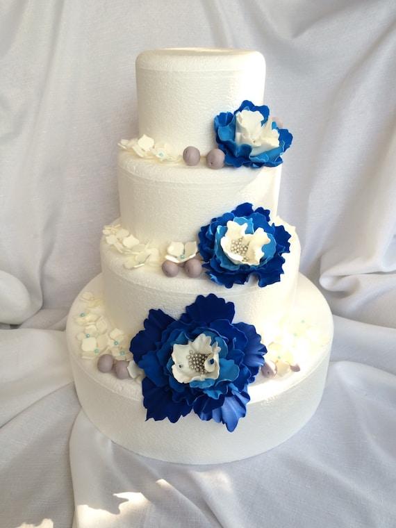 Torta Nuziale Fiori 51pcs Wedding Cake Topper Commestibile Fondente Blu Royal Ombre Peonia Ortensia Bacche Decorations Tema Tropicale Hawaiana