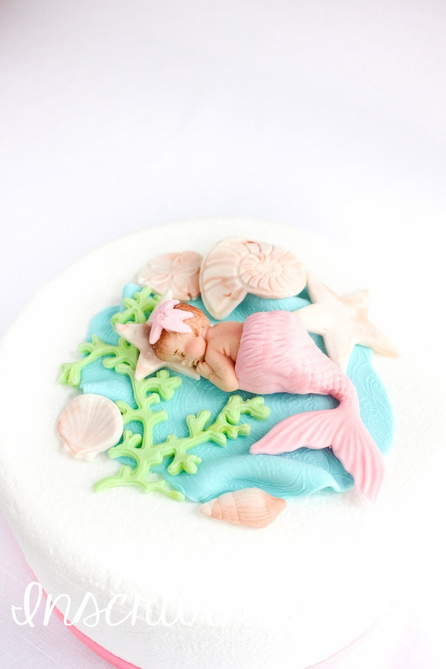 Mermaid Baby Shower Cake Topper Edible Decorations 10pcs 3D Fondant Girl Beach
