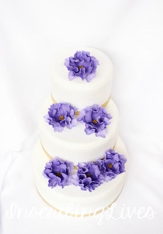 Lavendel Hochzeitstorte Topper 6pcs Lavendel Ombre Mit Gold Etsy