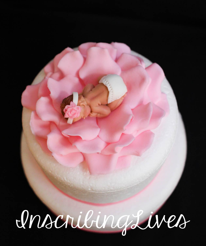 Baby Shower Cake Topper Girl Baby On Rose Flower Fondant Cake Etsy