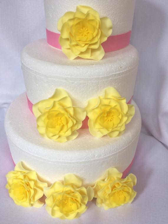 Gelbe Hochzeitstorte Topper Fondant Blumen 6 Grosse Gelbe Ombre Essbaren Fondant Blumen Vintage Hochzeitstorte Deckel Rose Dekorationen