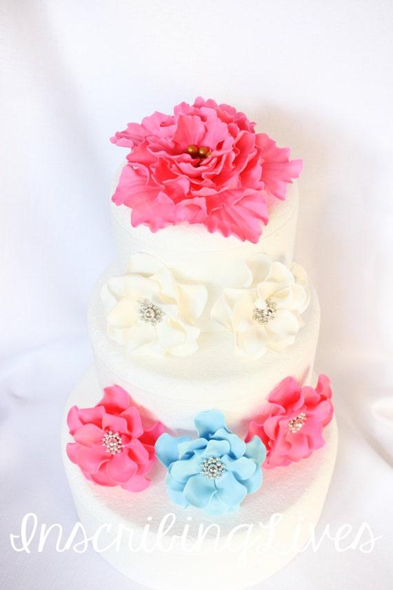 Wedding cake flowers 6pcs white fondant flowers hot pink etsy image 0 mightylinksfo