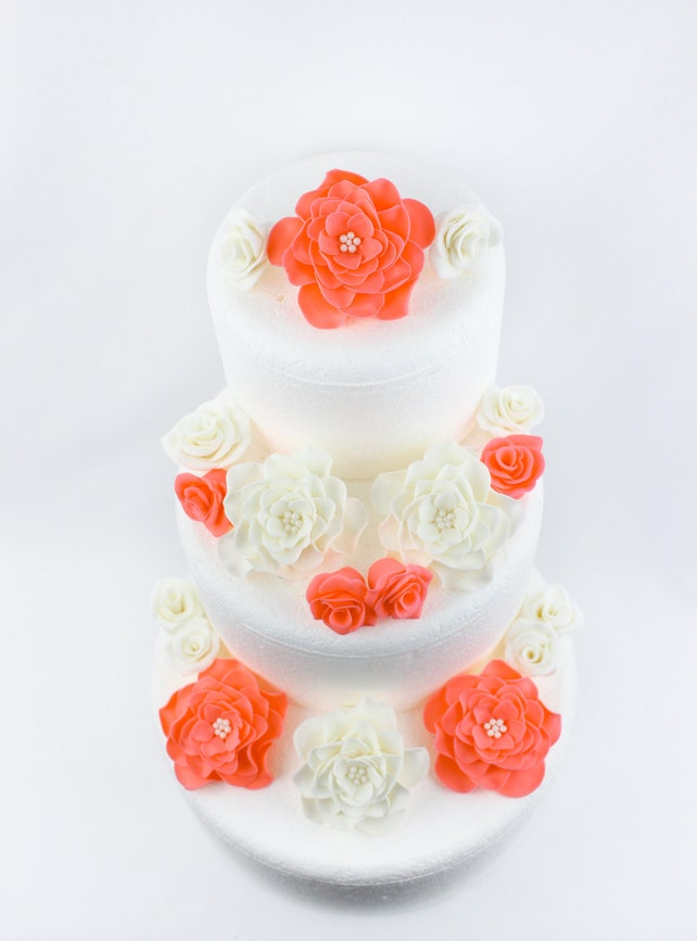 Coral White Cake Flowers 18pcs Fondant Vintage Rose Edible Topper Decorations Birthday Wedding