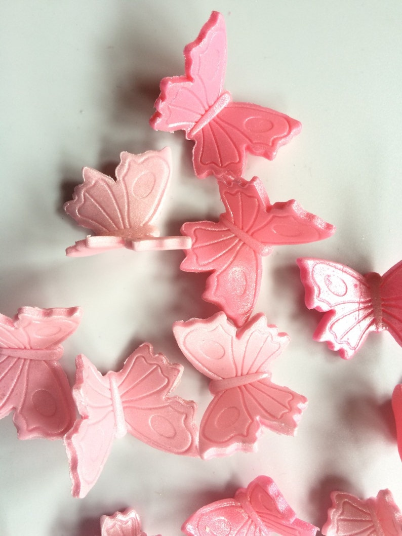 60676bef73 pink butterfly cupcake toppers 27pcs edible fondant assorted cake topper  cookie decorations sweet 16 wedding party birthday girly easter 3D