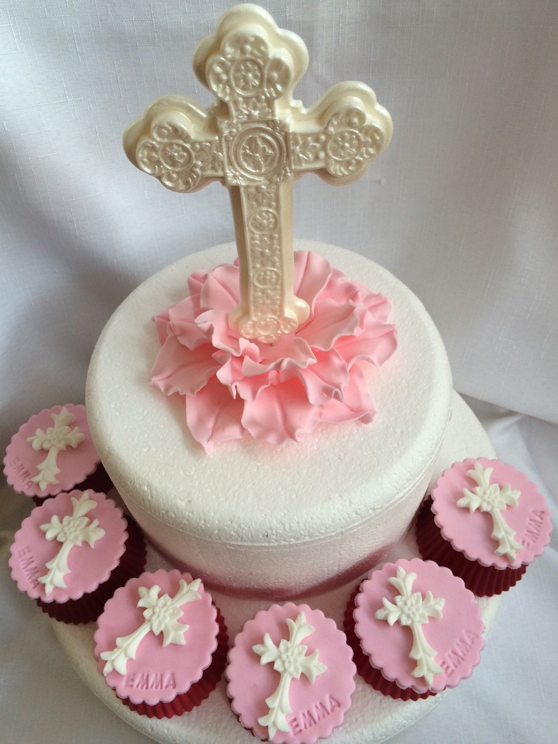Standing Cross On Flower Cake Topper 14pcs Christening Edible Etsy