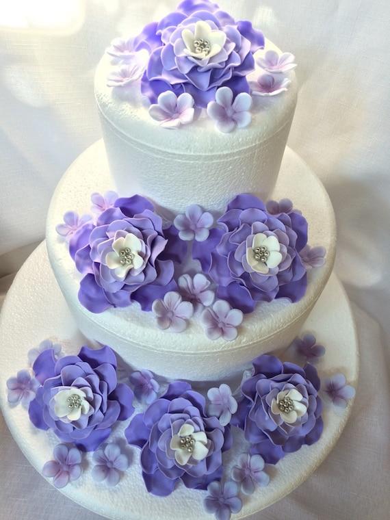 Hochzeitstorte Topper 42pcs Essbaren Fondant Blumen Lila Etsy