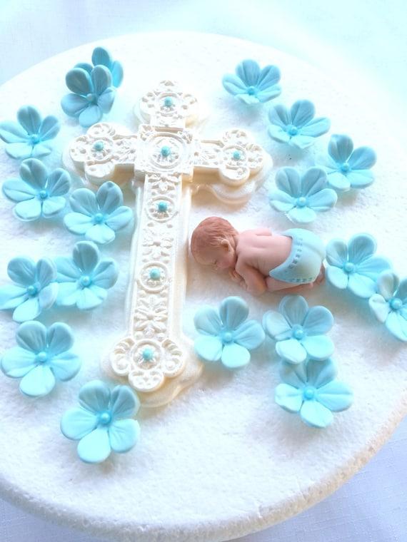 Taufe Kuchen Topper Junge Taufe Kuchen Topper 20 Stück Set Blaue Blume Baby Dusche 3d Essbaren Fondant Gross Kreuz Blau Deko Vintage