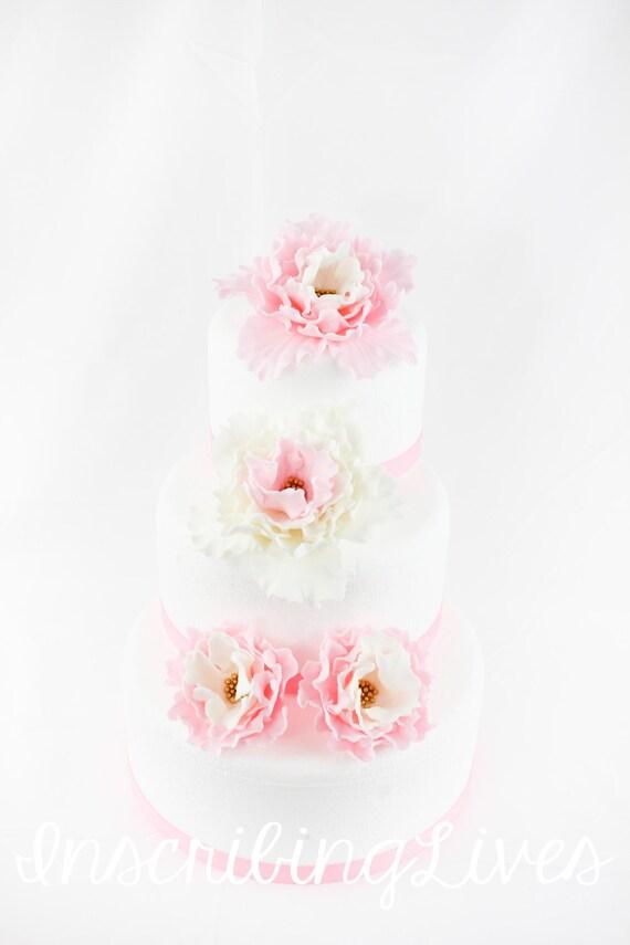 Wedding Cake Flowers 4pcs Topper Edible Fondant Flower Toppers Etsy