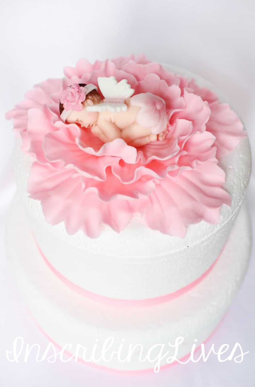 Fee Baby Dusche Kuchen Topper Madchen Rosa Pfingstrose 3d Etsy