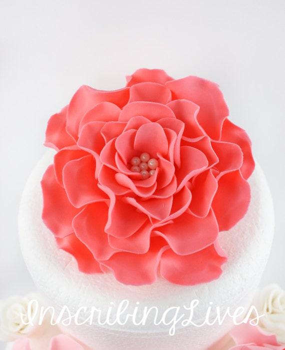 Fleurs De Corail Fondant Fleurs Comestibles Rose Corail Xl Etsy