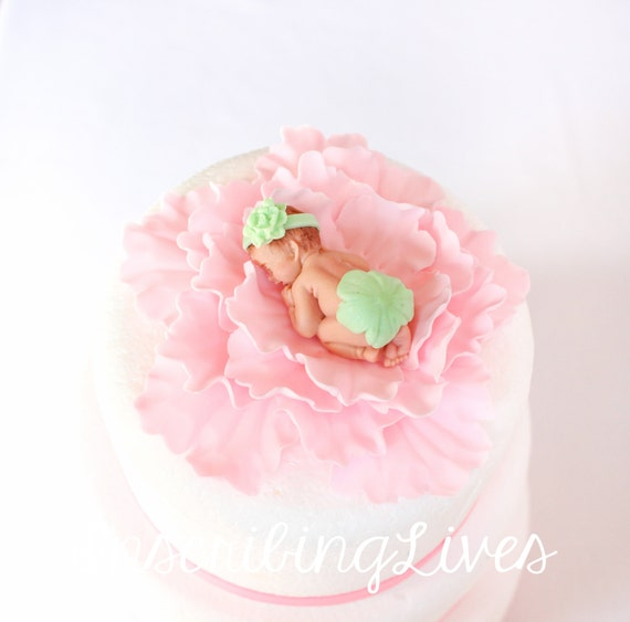 Pink mint green baby shower fondant cake topper girl Baby on a pink peony flower cake topper baby girl on a flower christening baptism